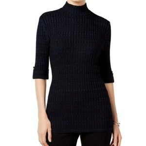 Style&Co Petite Marled Mock-Neck Swt Industrial Bl